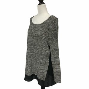 Thyme Maternity Scoop Neck Grey Top Large